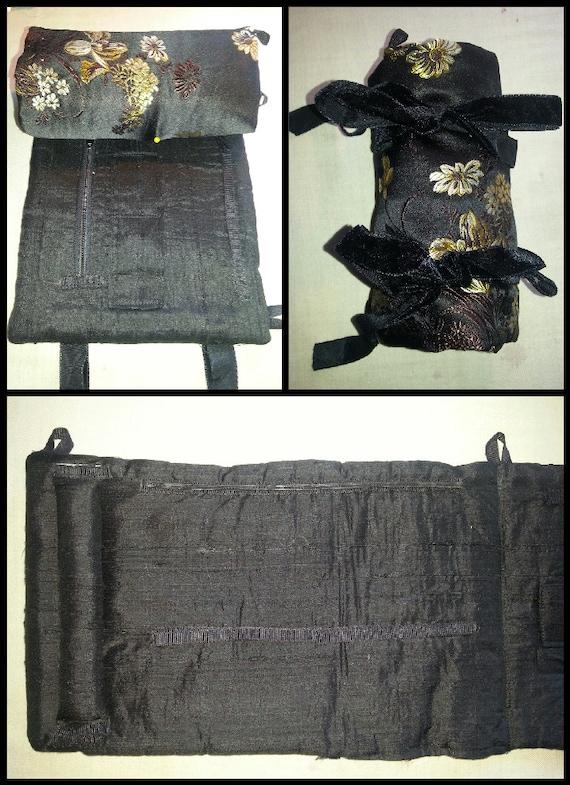 Black Chinese Silk Jewelry Roll, Jewelry Travel Case, Gift Ideas, Organizer