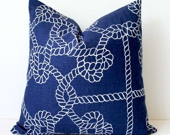 Rope Nautical Navy Blue Designer Pillow Cover  White Accent Cushion Knots modern coastal cottage dark indigo sailor resort summer