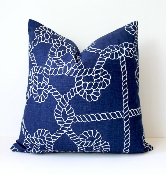 Rope Nautical Navy Blue Designer Pillow Cover  White Accent Cushion Knots modern coastal cottage dark indigo sailor resort summer