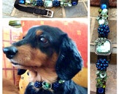 "Small 10"" 14"" Dog Collar ""Minty Blues"" OOAK pet collar, Movie Star Glam, Special Occasion Bling"