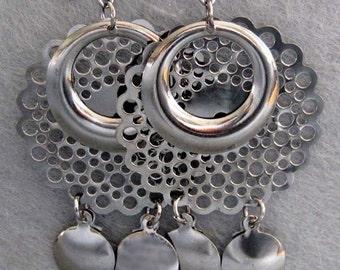 Pair Of Tibetan Style Silver Tone Metal Pendant Earrings 63mm x 35mm  T2158