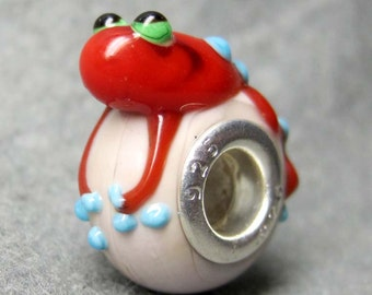 1Pc .925 Murano Glass Frog Bead Fit European Jewelry Finding 19mm x 14mm x 10mm  jaz447