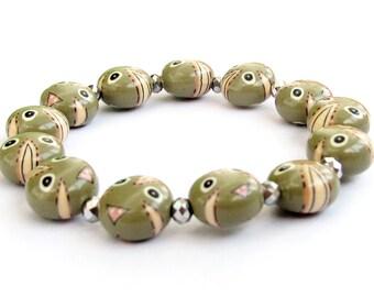 Fashion Fimo Polymer Clay Beads Stretch Wrist Bracelet  T3174
