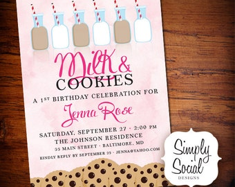 Milk and Cookies Birthday Party Invitation Kids Printable