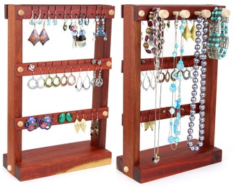 Jewelry Organizer Stand, Earring Display, Wooden, Bloodwood, Plus Necklace Bar. Holds up to 30 pairs, 4 pegs. Jewelry Holder