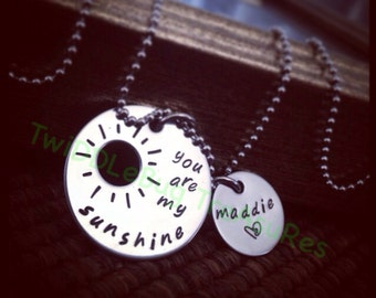 You Are My Sunshine - Hand Stamped Stainless Steel Necklace - Sunshine - Mother - Baby