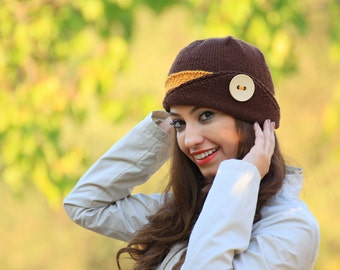 Womens accessories, Womens beanie, Brown knit hat, Button hat, Winter accessories,  knit winter hat, Lucy Hat, Knit wool hat, Fashion hat