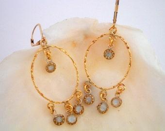 Gold white oriental earrings, Gold filled earrings with white beads, Dangle Gypsy style earrings, Chandelier earrings