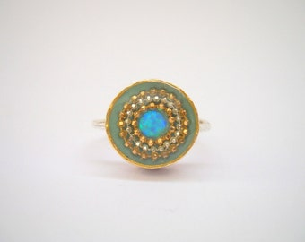 Blue Opal ring, Sterling silver ring, Blue Opal with gold and silver concentric dots circles on Green mint, hammered silver band, sparkly