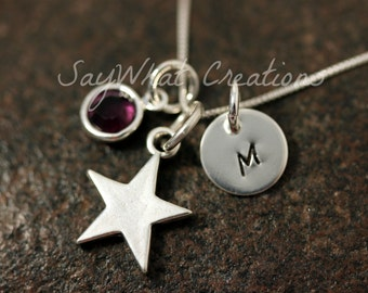 Sterling Silver Hand Stamped Mini Initial Necklace with Star Charm and Birthstone