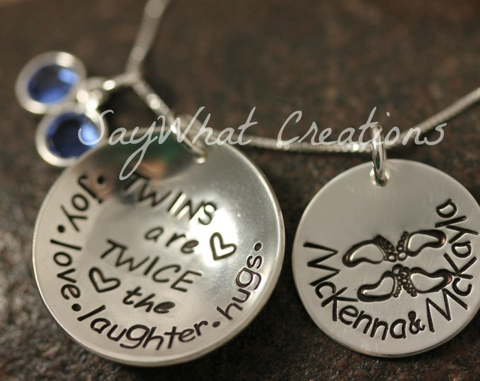 """TWINS Sterling Silver Hand Stamped Necklace """"Twins are twice the joy.love.laughter.hugs"""" and stamped name disk with twin baby feet"""