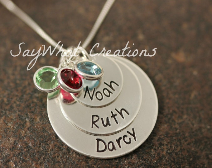 Sterling Silver Hand Stamped Three Disk Stacked/Tiered Mothers Necklace