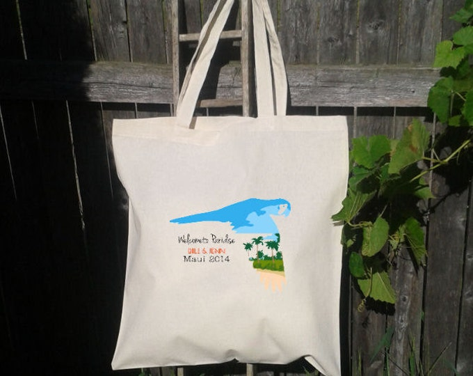 10 Wedding Welcome Tote -Bridesmaid Tote - Parrot with Beach - Any Text