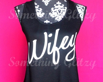 Wifey Flowy Tank, Wifey Tank, Wifey Shirt, Wifey Tee, Wifey, Bride to Be Shirt, Just Married Shirt, Bride Shirt, Honeymoon Shirt