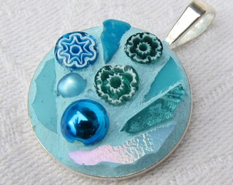 Light Blue Mosaic Pendant