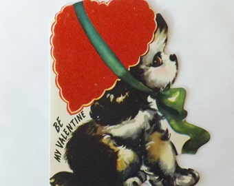 1960s Vintage Valentine card die cut dog wearing heart shaped hat flocked by Whitman ephemera