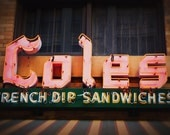 Cole's French Dip Sandwiches - Downtown LA Neon Sign - Retro Kitchen Decor - Vintage Los Angeles - Typography - Fine Art Photography