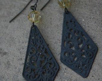 Bethany Earrings in Charcoal Grey