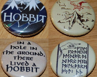 The Hobbit Button Badge 25mm / 1 inch JRR Tolkien / Lord of the Rings