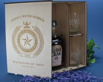 Personalized Wood Spirits Gift Box with 2 Personalized Etched Rocks Glasses