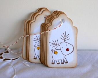 Reindeer Christmas tags 1 dozen