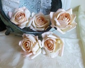 6 Large Peach Buds Parchment Paper Roses