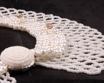 Vintage c.1950's Pure White Glass Beaded Pearls & Diamante Rhinestone Bridal / Wedding Choker Necklace - Bride or Bridesmaid Jewelry Gift