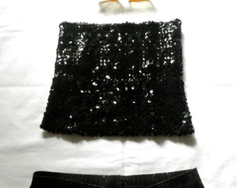 Vintage Black Sequin TUBE Top DISCO Party Diva 70s 80s Stretch Halloween Costume Club Kid Disco Diva Festival Party Jackpot Jen on Etsy