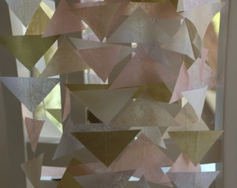 Tissue Paper Garland, Party Garland, Birthday Garland, Wedding Garland, Shower Garland, Triangle Garland - Pastel and Gold Mix
