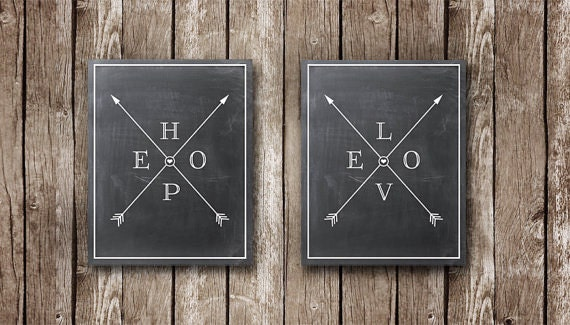 "Hope and Love with Crossed Arrows on Chalkboard - TWO FOR ONE - Printable Posters - 8x10"" or 16x20"""
