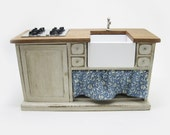 Miniature dollhouse furniture sink cabinet with steel hob