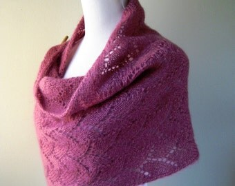 Hand Knit Shawl / Stole in Rose Mohair Wool