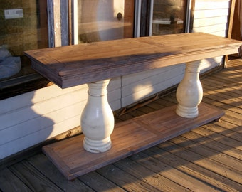 Beach House Console Table Handcrafted Balustrade Legs