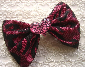 Hot Pink Lacey LEOPARD HAIR BOW with heart charm