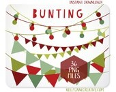 Christmas Clipart Bunting & Strings of Lights - INSTANT DOWNLOAD