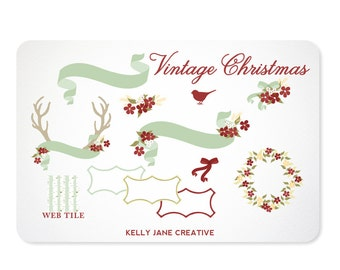 Vintage Christmas Antlers, Ribbons, and Bows Clip Art - Blog Graphics - Instant Download