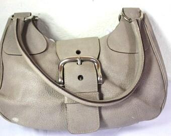 Vintage PRADA Beige Leather Small Hobo Shoulder Bag Italy