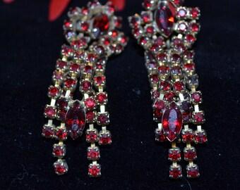 Ruby Colored Rhinestone Vintage Earrings Paris Chic