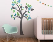 Tree Wall Decal, Gray Tree Decal, Birds Wall Decal, Tree for Nursery. Tree with Bird Nest Children Wall Decal