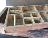 Superb character. Antique handmade wooden tool box / divider drawer ruler / repurpose / latch hook / shabby farmyard chic / rustic decor
