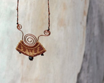 Micro macrame necklace- brown golden wax thread with natural black beads and hand forged Copper spiral