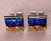 """Dichroic Cuff Links - Emerald Green Purple with Copper Orange Yellow & Teal Striped Ripple Lines Pattern Textured - 3/4"""" 2cm Fused Glass"""