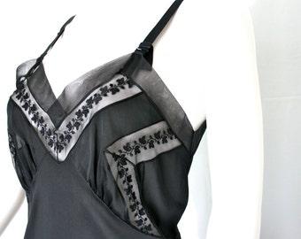 Black Vintage Embroidered Full Slip - Mid Century