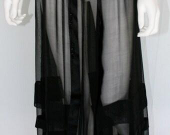 Vintage Edwardian Black Sheer Skirt - FREE SHIPPING in U.S.
