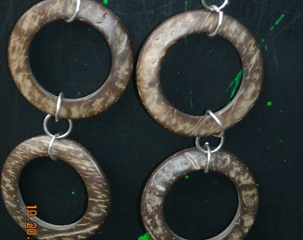 Coconut Shell Hoop Earrings