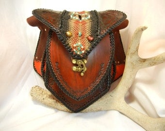 Leather Shoulder Bag with Macrame Inlay and Stones
