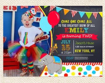 Carnival Circus  Birthday Invitations