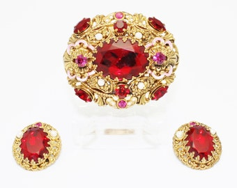 WGermany  Ruby Red Brooch and Earring Set
