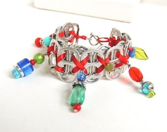 Hand-wired SODA TAB BRACELET - Fiesta - red, green, turquoise - 7 1/2 inches - upcycled/recycled/eco-friendly jewelry - under 20 dollars