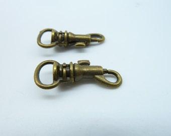 10pcs 11x27m Antique Bronze Thick Key Clasps c1450